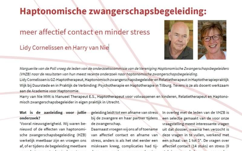Onderzoek effecten HZB: Meer affectief contact en minder stress